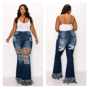 ➕ Distressed Thigh Flare Jeans